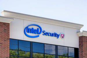 Minneapolis, United States - August 11, 2015: Intel Security offices. Intel Security Group is an American global computer security software company.